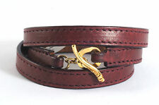 IPPOLITA 18K Yellow Gold Bordeaux Leather Wrap Bracelet Toggle Pelle Size 1