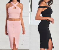 Women 2 Piece Bodycon Two bandage Crop Top Skirt Set Dress Party G