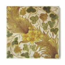 Antique Tile Victorian Aesthetic Arts & Crafts English Floral Brown Yellow Green