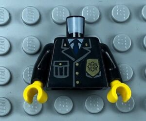 LEGO Minifigure Torso Police Jacket with Pocket, Gold Badge Yellow Hands  (x1)