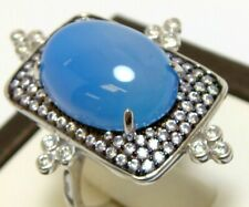 Agate Simulated Diamond Ring Size 6 925 Solid Sterling Silver Natural Blue