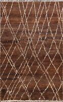 Thick-Plush Geometric Modern Moroccan Oriental Area Rug Plush Wool Handmade 5x7