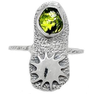 Israeli Design Sun - Peridot Rough 925 Sterling Silver Ring Jewelry s.6 BR86316