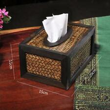 Retro Bamboo Wood Facial Tissue Box Cover/Holder for Bathroom Countertops