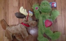 Lot of 2 Xmas The Grinch & Max Dog Dr Seuss Christmas Stuffed Animal Doll Plush