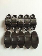 5 x Mini Gurtführung  mit Bürste für Gurtbänder bis 14mm,Rollladen,braun