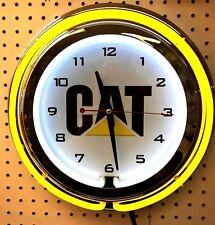 "15"" Caterpillar Cat Sign Double Neon Clock"