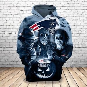 New England Patriots Hoodie Halloween Jason Pullover Hooded Sweatshirt 3D Jacket