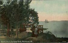 Old Postcard - Rustic Seat - Oakland Park - Rockland Maine