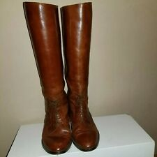 VINTAGE MARC ALPERT-BROWN LEATHER LACE UP TALL RIDING BOOTS-sz 5.5(see Photos)