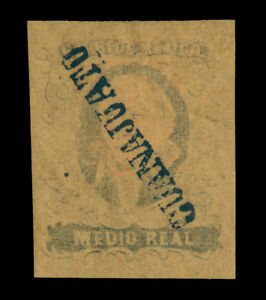 MEXICO 1861  Hidalgo ½r black, buff -GUANAJUATO- dist. ovpt Scott # 6 mint MH XF