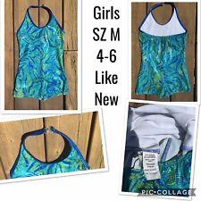 Euc Girls Gymnastics Leotard Leo Green Blue Sparkly Halter Shorts Sz M