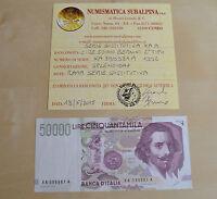 REPUBBLICA Lire 50000 BERNINI II TIPO 1992 SERIE SOSTITUTIVA RARA SPL+ SUBALPINA