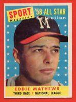 1958 Topps #480 Eddie Mathews EX/EX+ WRINKLE HOF Milwaukee Braves FREE SHIPPING