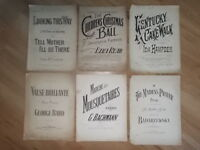 JOB LOT OF 6 VERY OLD VINTAGE ANTIQUE SHEET MUSIC - LOT 3