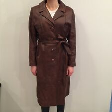 Womens Vintage 70s Ami Leather Brown Long Trench Coat Sz 14 Canada
