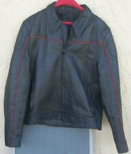 Vintage Men's Black Leather Red Trim Fitted Motorcycle Racing Jacket Sz. S