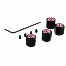 4Pcs Car Wheel Metal Tire Valve Stem Cap UK Britain Flag Cover Fit Peugeot Black