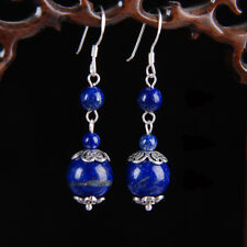 Blue Lapis Lazuli Dangle Silver Leverback Earrings Girls long earrings for women