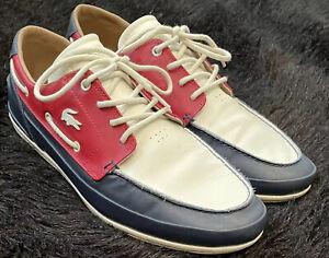 LACOSTE Nautic Men's Casual Classic Leather Boat/ Deck Shoes- Size 10 US- EUC