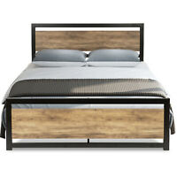 Retro Design Full Size Metal Platform Bed Frame with Wood Headboard & Footboard