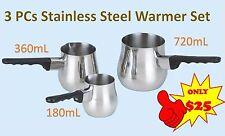 3 PCS Stainless Steel Turkish Coffee Warmer Set Coffee Pot Sauce Milk Warmer