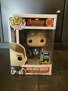 Funko Pop! Marvel Avengers Age Of Ultron CAPTAIN AMERICA UNMASKED 92 SDCC Excl