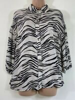BNWT NEXT cream black animal zebra print loose relaxed fit blouse top size 10 38