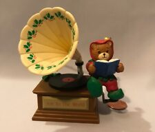 Lucy and Me Christmas Bear Elf Plastic Record Ornament Figure Enesco 1980 F33
