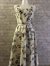 Ladies Size 14 LAURA ASHLEY Cream   Occasion Dress Gorgeous Print With Belt(j95)