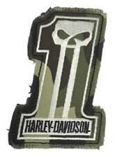 Harley-Davidson Dark Custom Camo #1 Skull Frayed Emblem Patch, 4 x 3 inches