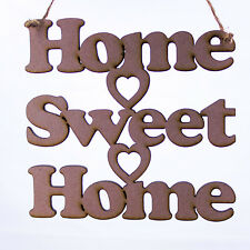 Home Sweet Home Phrase Hanging Decoration with hearts. Wooden/MDF - Home Decor