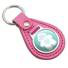 Yeti Abominable Snowman Pink Leather Metal Keychain Key Ring