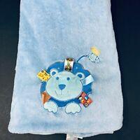 Taggies Blue Lion Yellow Bird Baby Blanket Plush Lovey Security 30x40 Aqua Teal