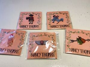 Lot of 5 Nancy Thomas Lapel Pins - '06 & '07 NEW STILL IN PACKAGE