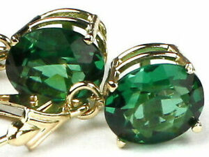 RUSSIAN NANO EMERALD, 14k Gold Leverback Earrings, E207
