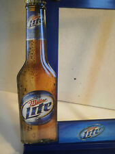 Miller Lite Beer Bottle Bar Sign Picture Frame Advertising Brewery Pub New Rare