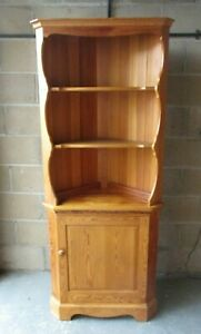 ERCOL Pine Corner Cabinet Unit, 2 Shelf Top, Lower Cupboard, 75cm W, 185cm H