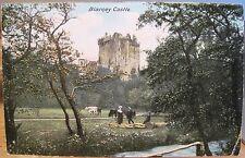 Irish Postcard Blarney Castle Cork Ireland with Cattle Cows Stream Eire go Brag