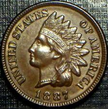 SEMI KEY DATE 1887 INDIAN HEAD CENT FULL STRONG LIBERTY + 4 DEEP DIAMONDS LQQK!