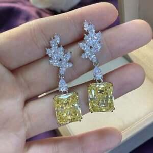 Vintage Citrine & Diamond Dangle Chandelier Earrings in 14K White Gold Overlay