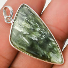 Russian Seraphinite 925 Sterling Silver Pendant Jewelry SDP24117