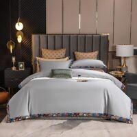 Egyptian Cotton Duvet Cover Set Border Print Bedding Duvet Cover Bed Sheet