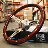 "14"" Slotted 3 Spoke Steering Wheel Dark Wood Riveted Grip, 6 Hole Chevy Ford GMC"