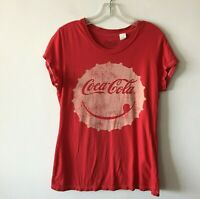 Coca-Cola Tee Shirt Smile Face Lid 2012 Women's Large L Flaw