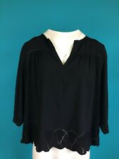 The White Company Embroidery Anglaise Black Top, Size 12