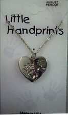 August birthstone necklace,Hand on heart,peridot crystal silvertone, giftcard