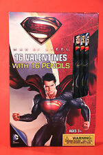 16 SUPER MAN VALENTINES DAY CARDS & #2 PENCILS school kids DC Comics Hero Gifts