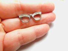 Clear Rhinestone Cat Eyes Spectacle Glasses Brooch Vintage