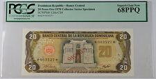1978 Dominican Republic 20 Pesos Oro Specimen Note SCWPM# 120a-CS4 PCGS 68 PPQ